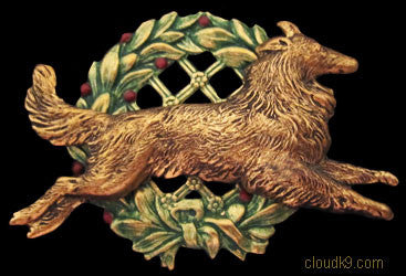 Collie Christmas Wreath Brooch Pin