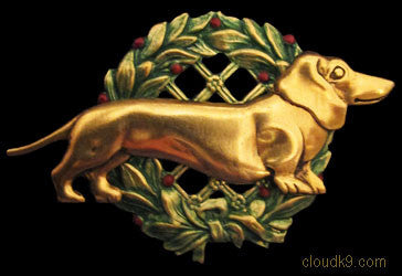 Dachshund Christmas Wreath Brooch Pin