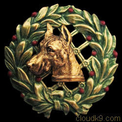 Great Dane Christmas Wreath Brooch Pin