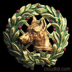 Doberman Christmas Wreath Brooch Pin