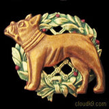 French Bulldog Christmas Wreath Brooch Pin