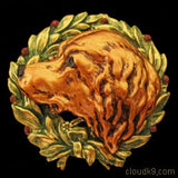 Chesapeake Bay Retriever Christmas Wreath Brooch Pin