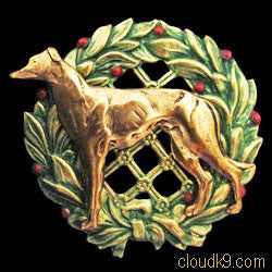 Whippet (Standing) Christmas Wreath Brooch Pin