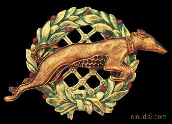 Whippet (Deco Style) Christmas Wreath Brooch Pin