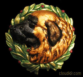 Leonberger Christmas Wreath Brooch Pin