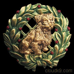Norfolk Terrier Christmas Wreath Brooch Pin