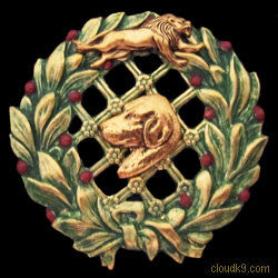 Rhodesian Ridgeback & Lion Christmas Wreath Brooch Pin