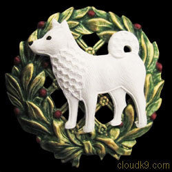 Samoyed Christmas Wreath Brooch Pin