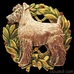Schnauzer Christmas Wreath Brooch Pin