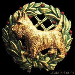 Scottish Terrier (Scottie) Christmas Wreath Brooch Pin