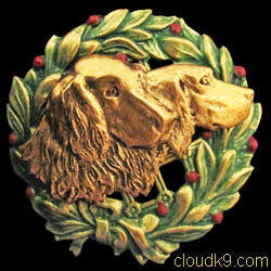 English Setter Christmas Wreath Brooch Pin