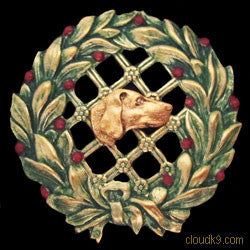 Vizsla Christmas Wreath Brooch Pin