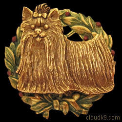 Yorkie / Yorkshire Terrier Christmas Wreath Brooch Pin