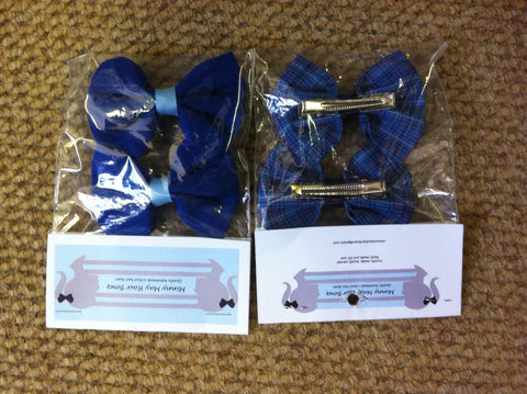 Bow Hair Clips Check/Plain (2 Pk)