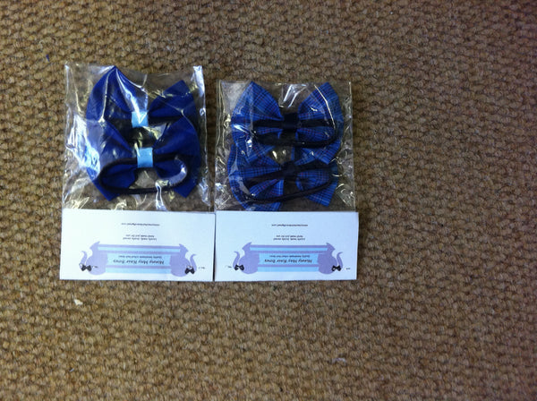 Bow Hair Ties Check/Plain (2 Pk)