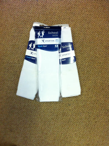 Girls White Knee High Socks - Spartan Special Buy - 3 for $12