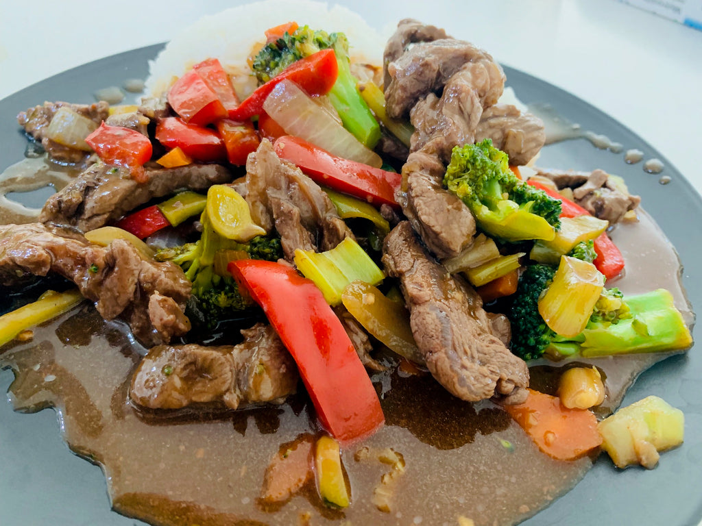 Mongolian Beef with Rice and Veg