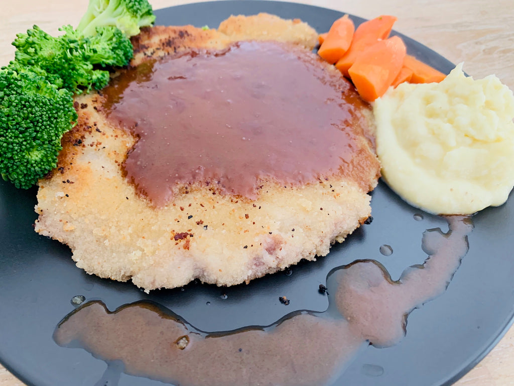 Veal Schnitzel with Gravy, Mash and Veg