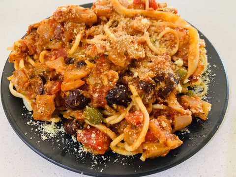 Italian Puttanesca Pasta with Chilli, Olives and Capers - Vegetarian -