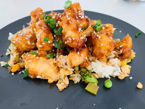 Asian Lemon Chicken with Fried Rice