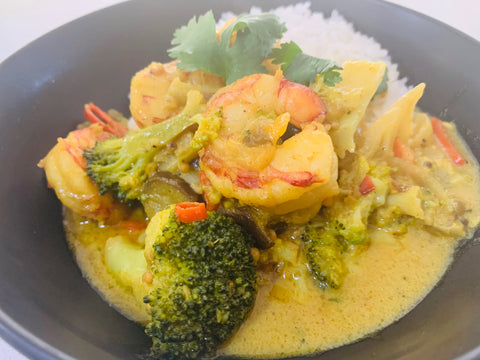 Asian Coconut Seafood Prawn Stir Fry with cauli rice-frozen- keto