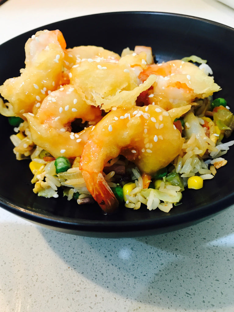 Chinese Honey Prawns with Fried Rice -  seafood