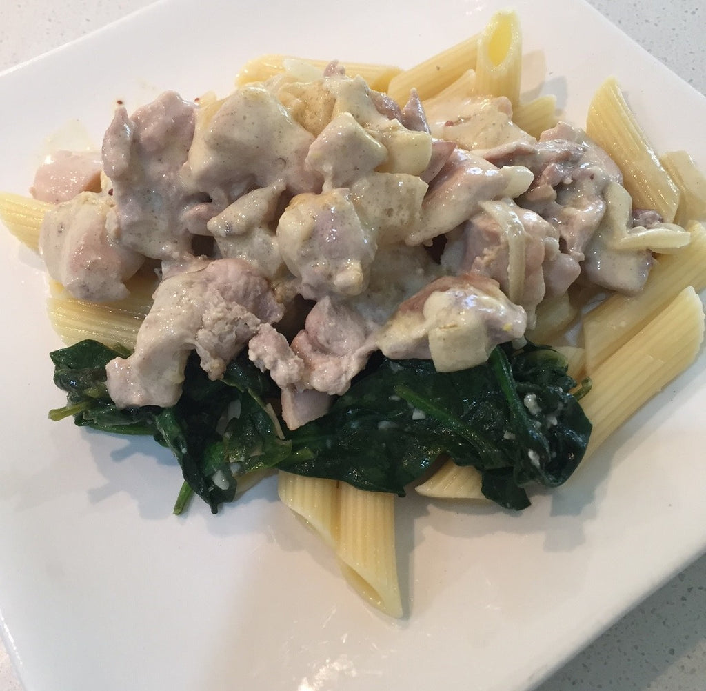 Creamy Horseradish Chicken with Sauteed Spinach
