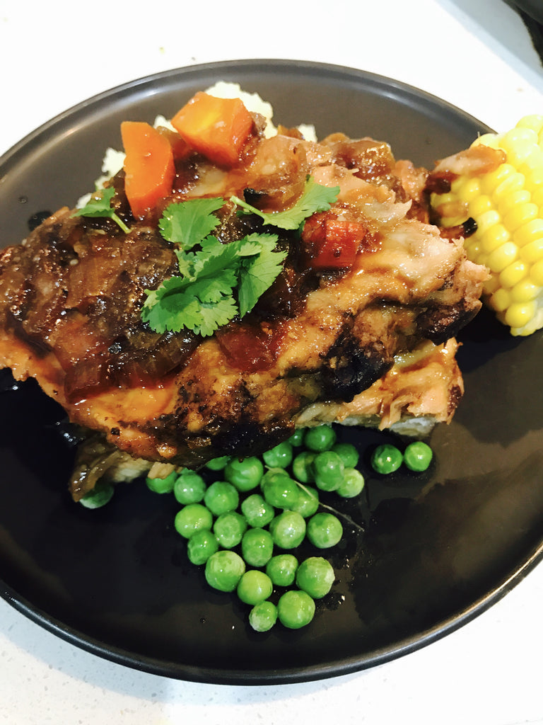 Sticky Chinese Ribs with Mash and Veg