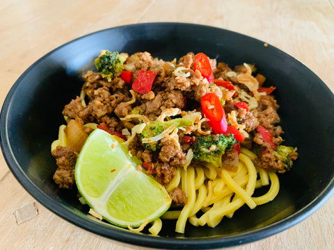 Sticky Asian Pork Stir Fry with Noodles-frozen