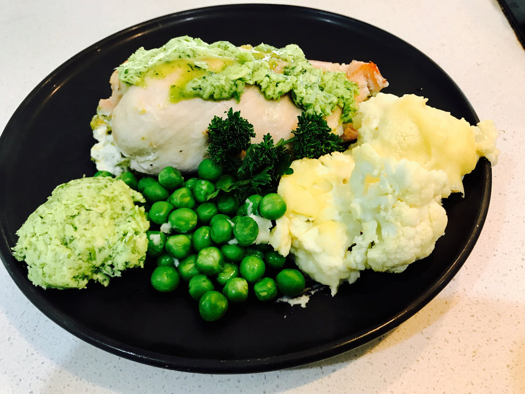 Chicken Breast Stuffed with Asparagus & Bacon, with Parsley Butter and Veg