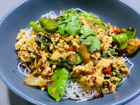 Thai Chicken Stir Fry with Basil on Rice Noodles  - GF