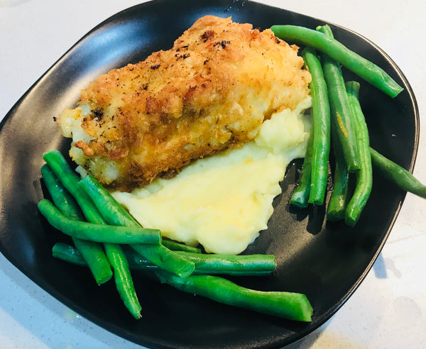 Chicken Kiev with Greens and Mash