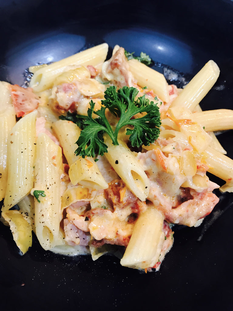 Italian Penne Alfredo with Bacon and Sundried Tomatoes