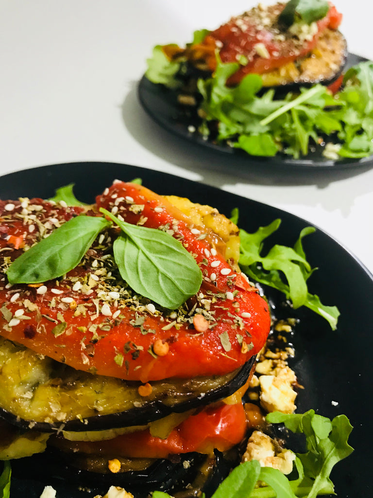 Roasted Eggplant and Capsicum Stack - Vegetarian