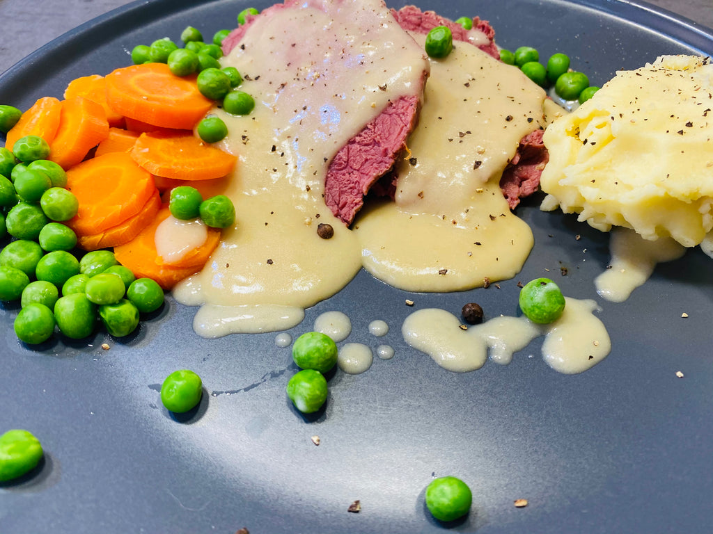 Corned Beef with Vegetables and White sauce