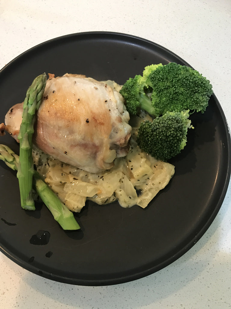 Roasted Chicken Thigh with Mustard Thyme Sauce and Veg