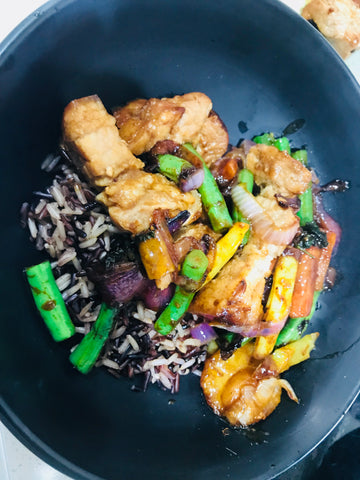 Mongolian Pork Belly with Asian Veg and Rice