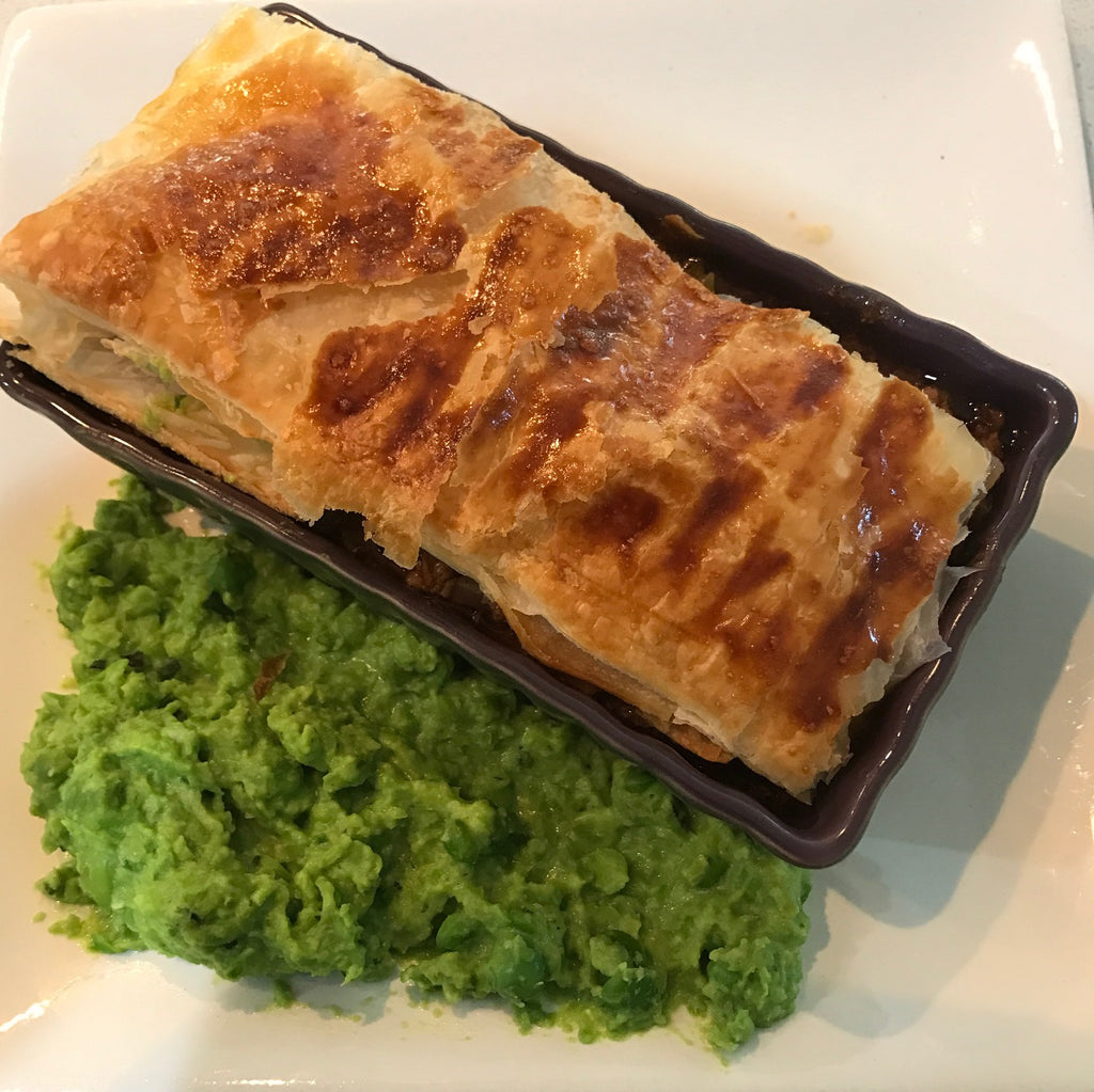 Slow Cooked Lamb and Rosemary Pie with Smashed Peas and Mash on the Side