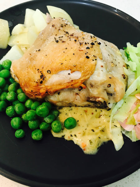Roasted Chicken Thigh with Mustard Thyme Sauce and Veg-GF-frozen