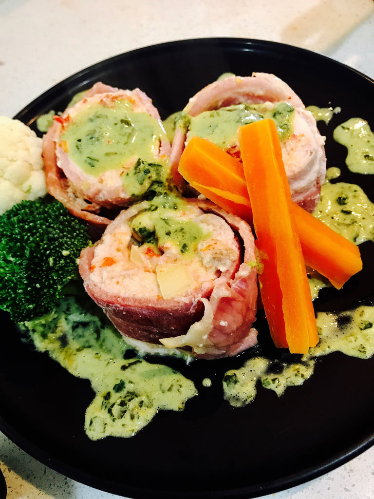 Stuffed Chicken Wrapped in Bacon with a Basil Sauce and Vegetables- keto