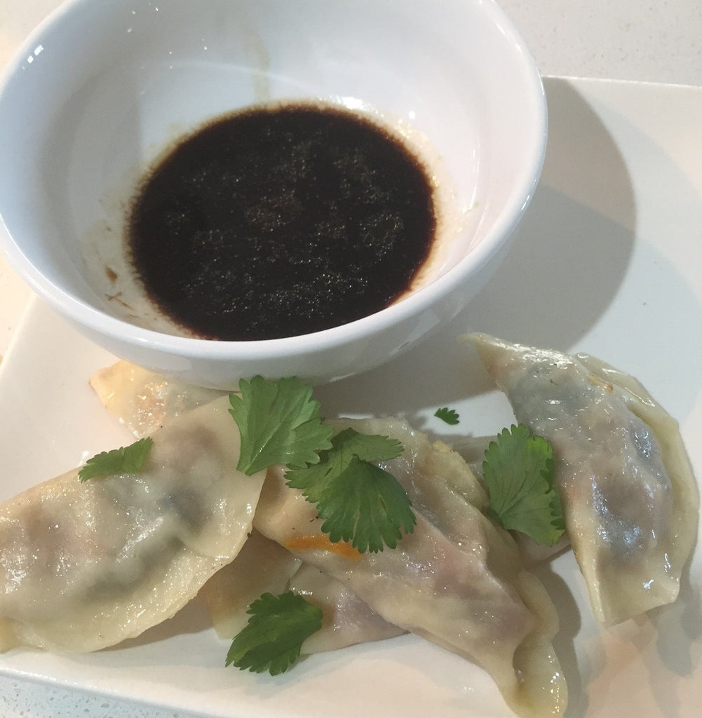 Vegetarian Steamed Dumplings with Dipping Sauce