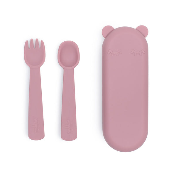 NEW! We Might Be Tiny | Feedie Fork & Spoon Set - Dusty Rose
