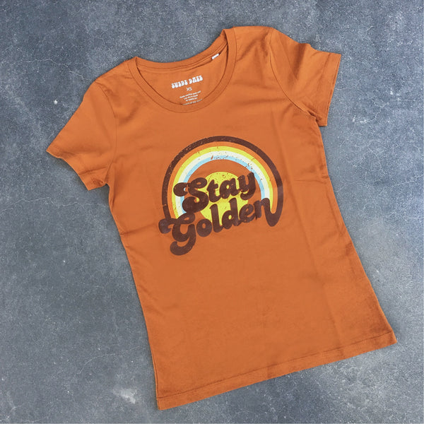 Suede Daze | LADIES Stay Golden tee - roasted orange