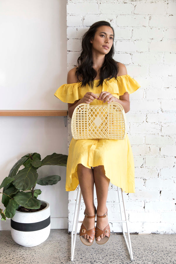 Sun Jellies | Large Retro Basket - Yellow