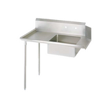"BK Resources BKSDT-60-L 60"" Left Stainless Steel Soiled Dish Table with Galvanized Legs"