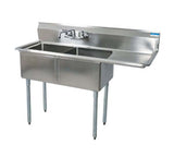 "BK Resources Two Compartment Sink with Right Drainboard - 24"" x 24"" Compartment"