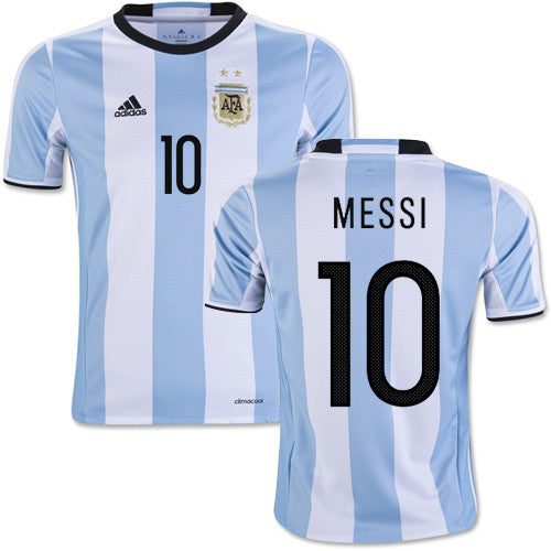 Astonishing Argentina Mens Home Football Shirt Soccer Jersey 2016 Messi 10 Hairstyle Inspiration Daily Dogsangcom