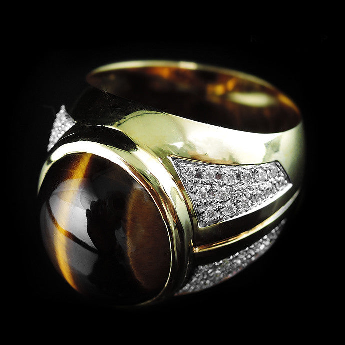 Tiger Eye with Diamonds Ring in 22K Gold (แหวน Tiger eye ประดับเพชร)