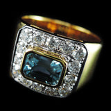 Blue Zircon with Diamonds Ring in 22K Gold (แหวน Blue Zircon ประดับเพชร)