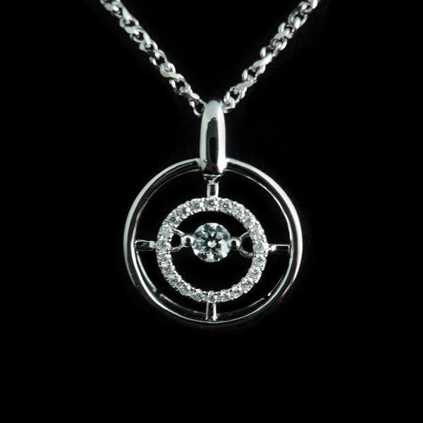 Diamond Pendant in 18K Gold (WG) (จี้เพชร)
